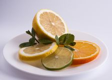 Lemon, lime and orange. Citrus Fruits on White Dish royalty free stock photo