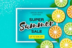 Lemon, lime, orange. Citrus Super Summer Sale Banner in paper cut style. Origami juicy ripe slices. Healthy food on blue. Square frame for text. Summertime Stock Photo