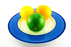 Lemon, Lime and Orange on a Plate. Single whole lemon, lime and orange on a blue plate with a white background royalty free stock photos
