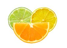 Lemon, lime and orange slices isolated on white. Background stock photo
