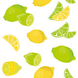Lemon Lime seamless vector pattern Royalty Free Stock Photo