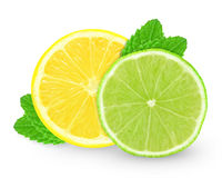 Lemon with lime slice and mint Stock Photography