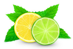 Lemon with lime slice and mint Royalty Free Stock Images