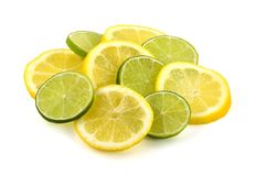 Lemon and lime slices Stock Image