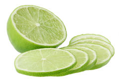 Lemon lime slices. Isolated on white background Royalty Free Stock Image