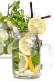 Lemon lime soda mint rosemary fresh drink isolated Stock Photo