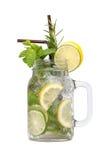 Lemon lime soda mint rosemary fresh drink isolated Stock Image