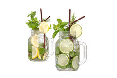 Lemon lime soda mint rosemary fresh drink isolated Royalty Free Stock Photos