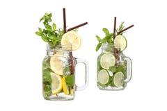 Lemon lime soda mint rosemary fresh drink isolated Stock Photography
