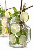 Lemon lime soda mint rosemary fresh drink isolated Stock Photos