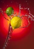 Lemon Lime Splash. Lemon and Lime over Sunburst background with liquid splash stock photos