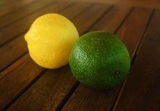 Lemon and lime. On the table Stock Photography