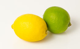 Lemon and Lime. On white background royalty free stock images