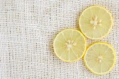 Lemon lime on white hemp  background Stock Image