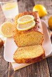 Lemon loaf cake. On wood background stock images