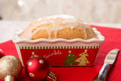 Lemon Loaf for Christmas. Loaf of lemon bread decorated for Christmas food gift giving Royalty Free Stock Photos