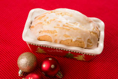 Lemon Loaf Christmas Food Gift. Lemon bread in a decorative holder to give for Christmas Stock Photography