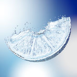 Lemon made out of water splashes. Blue background Stock Photos
