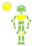Lemon Man. Illustration of lemon conservation character with sun Royalty Free Stock Images