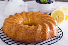 Lemon marble bundt cake Royalty Free Stock Photos
