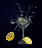 Lemon in martini glass. Royalty Free Stock Photo