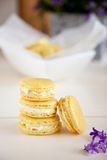 Lemon mascarpone macarons Royalty Free Stock Image