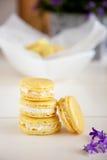 Lemon mascarpone macarons. Delicious lemon mascarpone macarons in a stack Royalty Free Stock Image