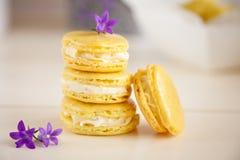 Lemon mascarpone macarons. Delicious pile of lemon mascarpone macarons in a stack Royalty Free Stock Photography