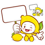 Lemon mascot the right hand guides and the left hand is holding Royalty Free Stock Photo