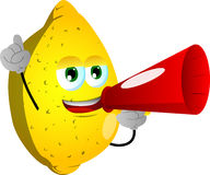 Lemon with megaphone Royalty Free Stock Image