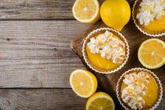 Lemon meringue mini pies royalty free stock photo