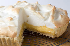 Lemon meringue pie on the rack Royalty Free Stock Image
