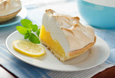Lemon Meringue Pie. A slice of delicious homemade lemon meringue pie Stock Images