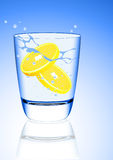 Lemon in the mineral water splash Stock Photography