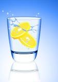 Lemon in the mineral water splash royalty free illustration