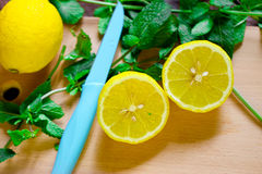 Lemon with mint Stock Images