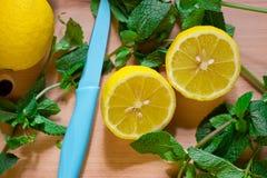 Lemon with mint Stock Photo