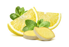 Lemon mint ginger group 2  on white background Stock Photo