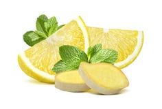 Lemon mint ginger group 2  on white background Stock Photo