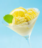 Lemon and mint on ice-cream Royalty Free Stock Image