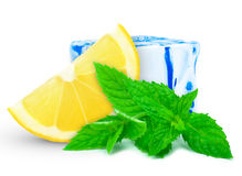 Lemon with mint and ice Stock Images