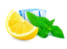Lemon with mint and ice Stock Photography