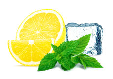 Lemon with mint and ice Royalty Free Stock Images