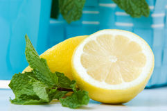 Lemon with mint leaves Stock Image