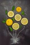 Lemon and mint leaves on blackboard. Royalty Free Stock Photos