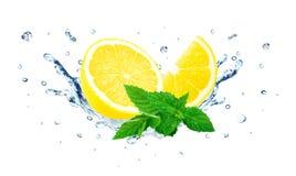 Lemon and mint splash Royalty Free Stock Photo