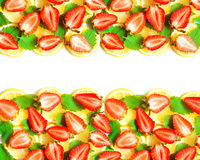 Lemon, mint and strawberry border Stock Images