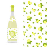 Lemon and mint vector colorful seamless pattern and bottle of limonade Royalty Free Stock Images
