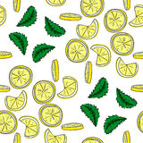 Lemon  and mint vector seamless pattern. Stock Photo