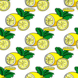 Lemon  and mint vector seamless pattern. Stock Photography